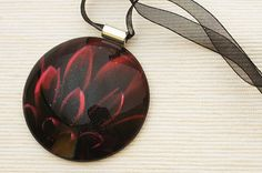 Glass statement necklace photo blood red by BlackcurrantShop, $50.00