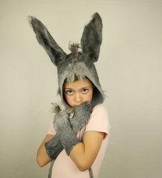 Donkey Ears Felted hat Earflap - Shrek Donkey Hat Headpiece for Kids Adults - Donkey Cosplay Birthday LARP Costume Carnival Party - To Order by FeltStream on Etsy https://www.etsy.com/listing/534396401/donkey-ears-felted-hat-earflap-shrek