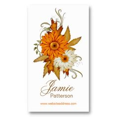 Fall Season Flower Vertical Business Cards 11