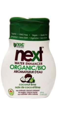 Next Remedies Organic Water Enhancer Coconut Lime - Next is the first and only Certified Organic water enhancer on the market. It is made from the high Organic Water, Lime, Wheat Gluten, Vegetable Glycerin, Organic Vegetables, Calories, Sans Gluten, Stevia, Lima