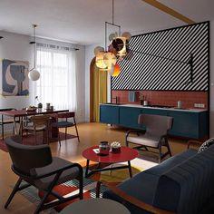 Colours and stripes . . . . . Pinterest #colour #stripes #hospitality #hospitalitydesign #flos #michaelanastassiades #lighting #lightingdesign #colourcombo #residential #residentialdesign