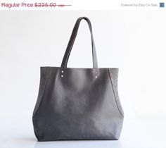 Distressed Gray leather tote bag/ Everyday bag/ Leather handbag / By MaykoBags / On SALE $249