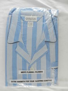 NEW Vintage Mens Cotton Flannel Pajamas Size XL by Jordan Scott Blue Striped #JordanScott #PajamaSets
