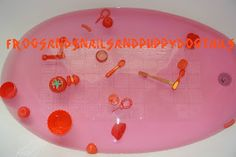 Frogs and Snails and Puppy Dog Tails: The color red bath theme