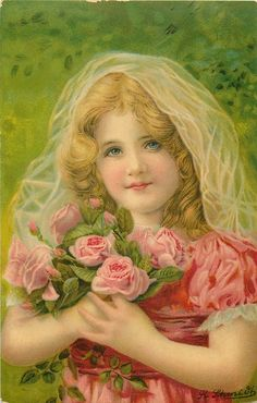 girl with roses in hands, sheer veil on head