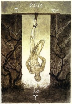 XII. The Hanged Man - The Labyrinth Tarot by Luis Royo