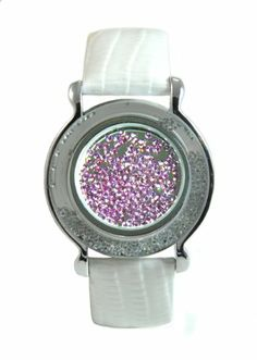 Lilac Dancing Gem Ball Marker in White Leather Magnetic Bracelet- by Navika USA Inc. Wristband comes Beautifully Packaged in Windowpane Gift Box. Mark your spot on the golf course with this fashionable and functional piece. Ball marker can be removed and replaced with any 25mm ball marker.