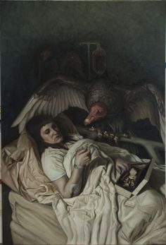 """Jameson Connor, """"First in series about animals that allegorically depict the worst traits of humanity. The creature in place of a human describes the """"sub-human"""" treatment of others, the lack of moral quality and integrity that makes humanity more than just another beast of the world. This one specifically describes a person with vulture-esque qualities, a person that will patiently wait for a friend or relative to pass in order to gain their wealth under the guise friendship."""""""