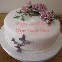Anh Nhat write girl name on butterfly birthday cake picture. happy birthday wishes greetings for girl. butterflies girly birthday cake with gild name print. beautiful butterfly design birthday day cake set whats app dp Girly Birthday Cakes, Online Birthday Cake, Butterfly Birthday Cakes, Happy Birthday Cake Images, Birthday Wishes Cake, Special Birthday Cakes, Birthday Cake Pictures, Birthday Cake With Flowers, Birthday Cake With Candles