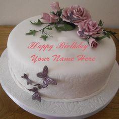 Write Your Name On flowers Birthday cake Online RLisa