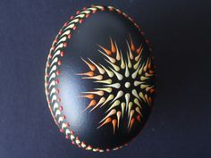Chicken Egg Pysanka Ornament Wax Embossed Pysanka by EggstrArt