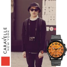 Wonmin is wearing our Black + 45A108 watch. #Caravelle #LFW #Black #Orange #StreetStyle #Fashion #Style