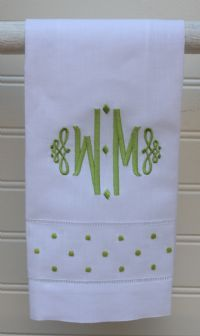 Great New Monogram on our swiss dot towels. Makes a great hostess gift!