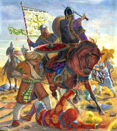 Crusader knights engaging islamic infantry, Battle of Ascalon
