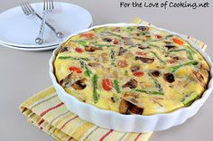 For the Love of Cooking » Frittata with Asparagus, Bacon, Asiago, Potatoes, and Caramelized Onions & Mushrooms
