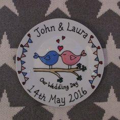 Love Birds Personalised Wedding Plate.