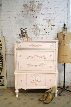 Blush painted chest of drawers