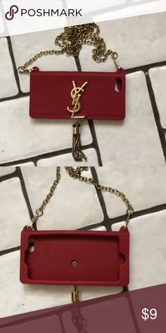 c5bee9e8630 Cell phone case for iPhone Not genuine YSL. Purchased in Lebanon. Attached  gold shoulder chain Yves Saint Laurent Other