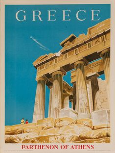 Greece, Parthenon of Athens Original Travel Poster Greece Art, Athens Greece, Parthenon Greece, Vintage Travel Posters, Vintage Ads, Old Posters, Tourism Poster, Travel Ads, Travel Photos