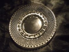 """6 3/8"""" Vintage Clear Glass Boopie Hobnail Art Deco Ashtray NOS #Unbranded"""