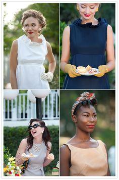 50s luncheon fashion, what a beautiful bridal party. Will my bridesmaids pleaseeeeeeeeeeeeee throw me this?
