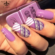 Nails by Cassis: Purple Stripe Lace Mani Featuring Madam Glam Polishes