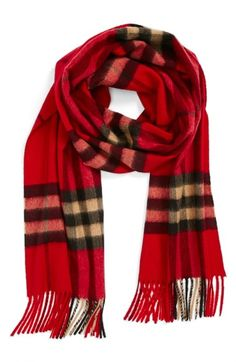 """Burberry Giant Check Fringed Cashmere Muffler 