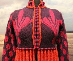 """The bridemaid's pleated jacket orange/blueberry/pink. Kits for my book FANØSTRIK - Colours of Fanø - You find the knittingpattern in my Knittingbook """"Fanøstrik - Colours of Fanø"""""""