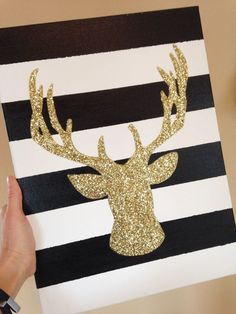Holiday craft i love! Deer antlers, gold & glitter- everything you need!