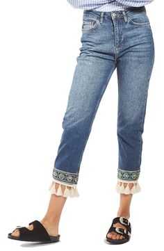Main Image - Topshop Embellished Hem Straight Leg Jeans - Best Sewing Tips Style Outfits, Fashion Outfits, Topshop, Denim Fashion, Boho Fashion, Street Fashion, Jeans Refashion, Clothes Refashion, Nordstrom Jeans