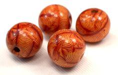 Large Art Patterned Wood Beads, Hemp Jewelry Making Beads, 4 Loose Wood Beads For Jewelry Making, Craft Supplies, Earthy Wood Beads (W155)