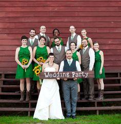 JOHN DEERE WEDDING.love the wedding party green ~ color dresses