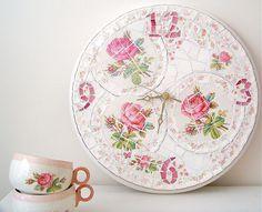 Shabby Mosaic Clock by lavenderhillstudio, via Flickr