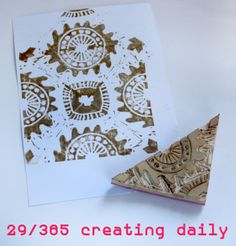 """Project """"365 - creating daily"""" day 29: triangle repeat stamp.  Idea from Julie Fei-Fan Balzers´ book """"Carve, Stamp, Play""""  Anke Humpert 1/2014  #carvestampplay  #365creatingdaily"""