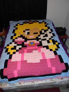 Princess Peach pixel crochet blanket by LadyMetalD on deviantART 8 Bit Crochet, Crochet Game, Plaid Crochet, Crochet Gifts, Cute Crochet, Crochet Stitches, Crochet Patterns, Crochet Princess Blanket, Pixel Crochet Blanket