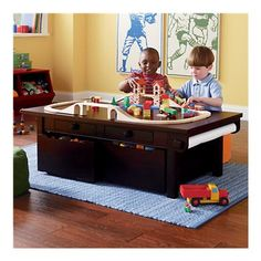 This would be the perfect coffee table. Storage and play table in one piece of furniture. Kids' Play Tables: Kids Espresso Adjustable Wooden Activity Table in Play Tables & Chairs Kids Play Table, Kids Table And Chairs, Kid Table, Lego Table, Kids Toy Boxes, Kids Storage, Storage Bins, Table Storage, Train Table