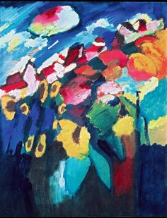 """""""Murnau. Garden"""", 1910 by Wassily Kandinsky via Painting the Modern Garden: Monet to Matisse review – thrillingly cosmic - theguardian"""