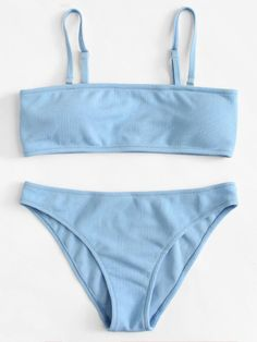Adjustable Straps Bikini Set -SheIn(Sheinside) - Swimsuits - Ideas of Swimsuits - Adjustable Straps Bikini Set -SheIn(Sheinside) Bathing Suits For Teens, Summer Bathing Suits, Cute Bathing Suits, Trendy Bikinis, Summer Bikinis, Bikinis Retro, Retro Swimwear, Shark Swimsuit, Blue Swimsuit