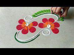 Easy and beautiful freehand rangoli design Easy Rangoli Designs Diwali, Rangoli Designs Latest, Rangoli Designs Flower, Free Hand Rangoli Design, Rangoli Border Designs, Small Rangoli Design, Rangoli Patterns, Colorful Rangoli Designs, Rangoli Ideas