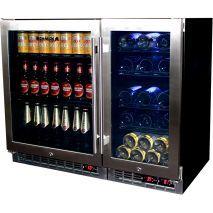Beer And Wine Bar Fridge With Multi Zones And Interchangeable Shelves Beer Fridge, Wine Refrigerator, Glass Door, Wine Rack, Liquor Cabinet, Bar, Shelves, Shelving, Wine Fridge