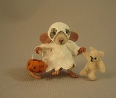 Miniature Ghost mouse Halloween by Artist Aleah Klay | eBay