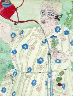 """En muchos de sus dibujos retrata la vejez y el rol femenino, casi siempre dibujándose a sí misma mediante la técnica del """"contorno ciego"""". Elisabeth Layton comenzó a pintar a a la edad de 68 años durante una depresión que padecía desde hacía 35 años. Nació en Wellsville, una pequeña ciudad de Kansas. En su vida tuvo que luchar contra el trastorno bipolar mientras sacaba adelante a sus 5 hijos."""