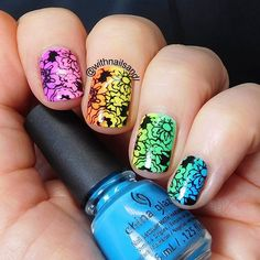 Rainbow stripes with floral stamping by @withnailsandi