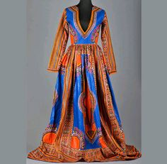 Dashiki/ankara/african/ethnic blue long gown door AFROCOLLECTION2015