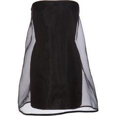 Stella Mccartney Strapless Organza Dress ($575) ❤ liked on Polyvore featuring dresses, vestidos, vestiti, black, stella mccartney, women, flare dress, black sheer dress, black bodycon dress and strapless cocktail dress