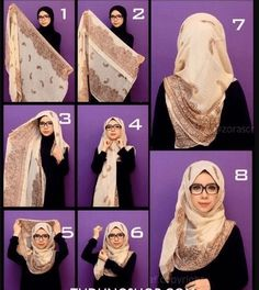 Hijab tutorial- love the glasses too. So hijabi chique Square Hijab Tutorial, Simple Hijab Tutorial, Hijab Style Tutorial, Scarf Tutorial, Stylish Hijab, Modern Hijab, Islamic Fashion, Muslim Fashion, Beau Hijab