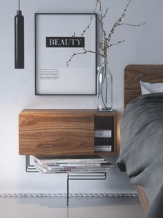 Small bedroom made to show walnut Piero wood from Impress Decor. Inspired by great photos of Manuel Barrera. Small Apartment Decorating, Loft Bedroom Decor, Bedroom Interior, Cozy Apartment Decor, Master Bedrooms Decor, Rustic Living Room Design, Contemporary Nightstand, Walnut Bedroom, Bedroom Decor