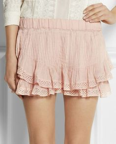 Oriane lace-trimmed pleated ramie shorts