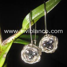 Aretes o Zarcillos de Nido en Plata y Perlas Cultivadas. Curso de Joyería de ViviBlanco