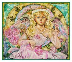 Angel of the Pink Saphire inspired by Yumi Sugai Counted Cross Stitch or Counted Needlepoint Pattern